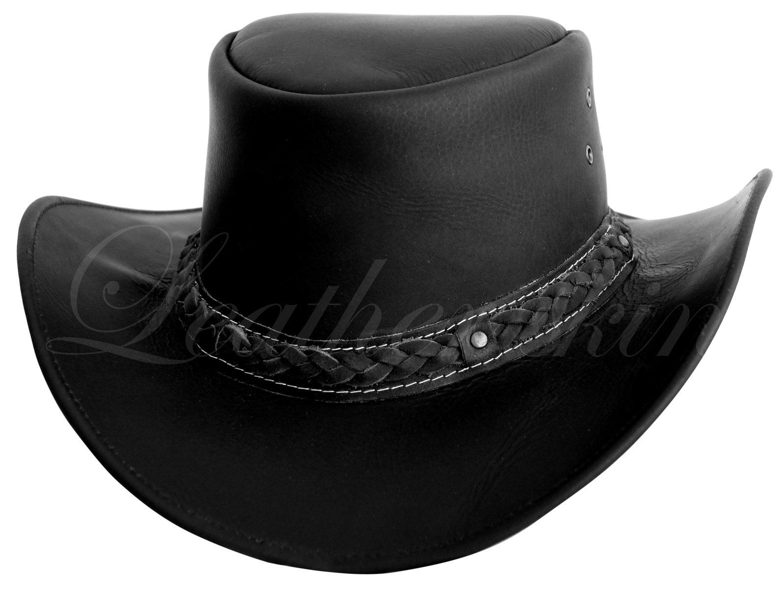 f8a60ecbf3d2c Men Handmade Black Hat Aussie Bush Cowboy Western Outback Leather ...