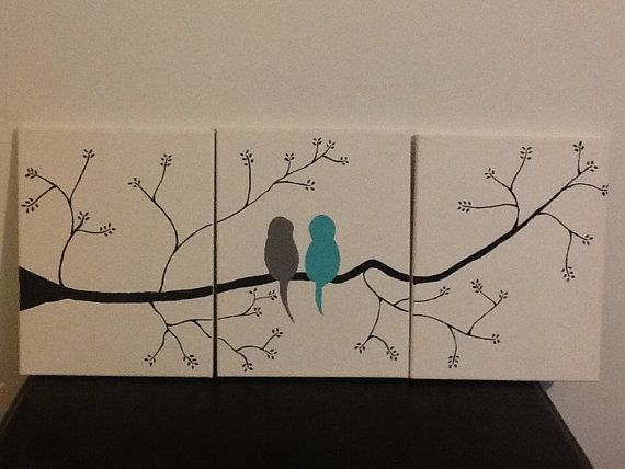 Original Three Canvas Acrylic Paint Love Birds Painting For The