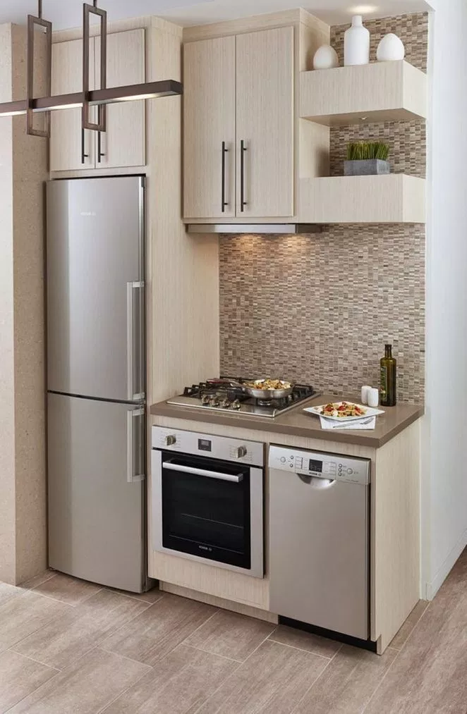 41 Key Pieces Of Kitchenette Basement Small Spaces Mini Kitchen 40 Decorinspira Com Small Apartment Kitchen Tiny House Kitchen Small Modern Kitchens