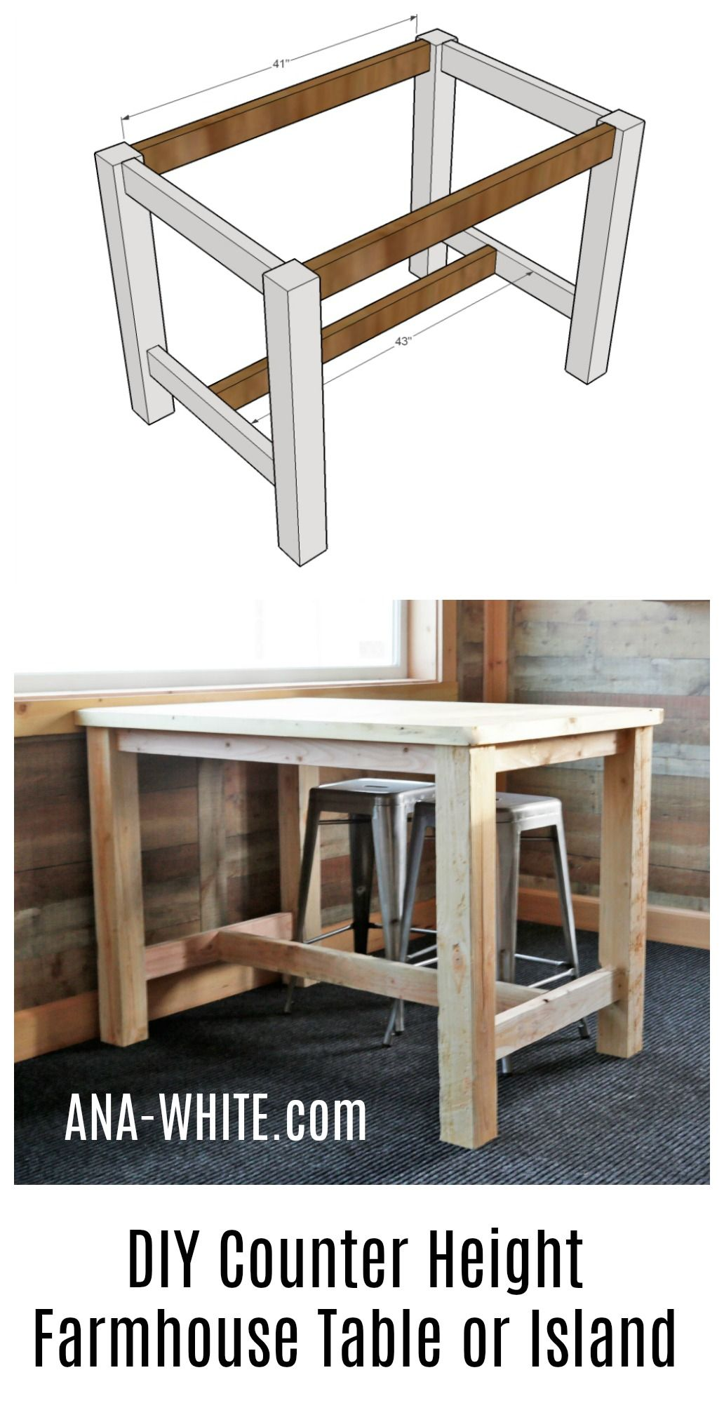 Counter Height Farmhouse Table For Four Woodworking Furniture Table Wood Diy Furniture Projects