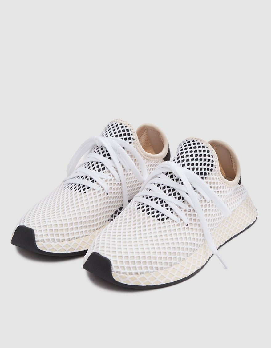 be887426886b82 Deerupt runner from Adidas in Linens. Knit upper with stretch-web overlay.  Round toe. EVA midsole and Ortholite™ sockliner for comfort. Rubber outsole.