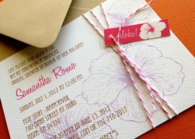 Vintage Hawaiian invitation, purple and pink, set of 10, tropical ...