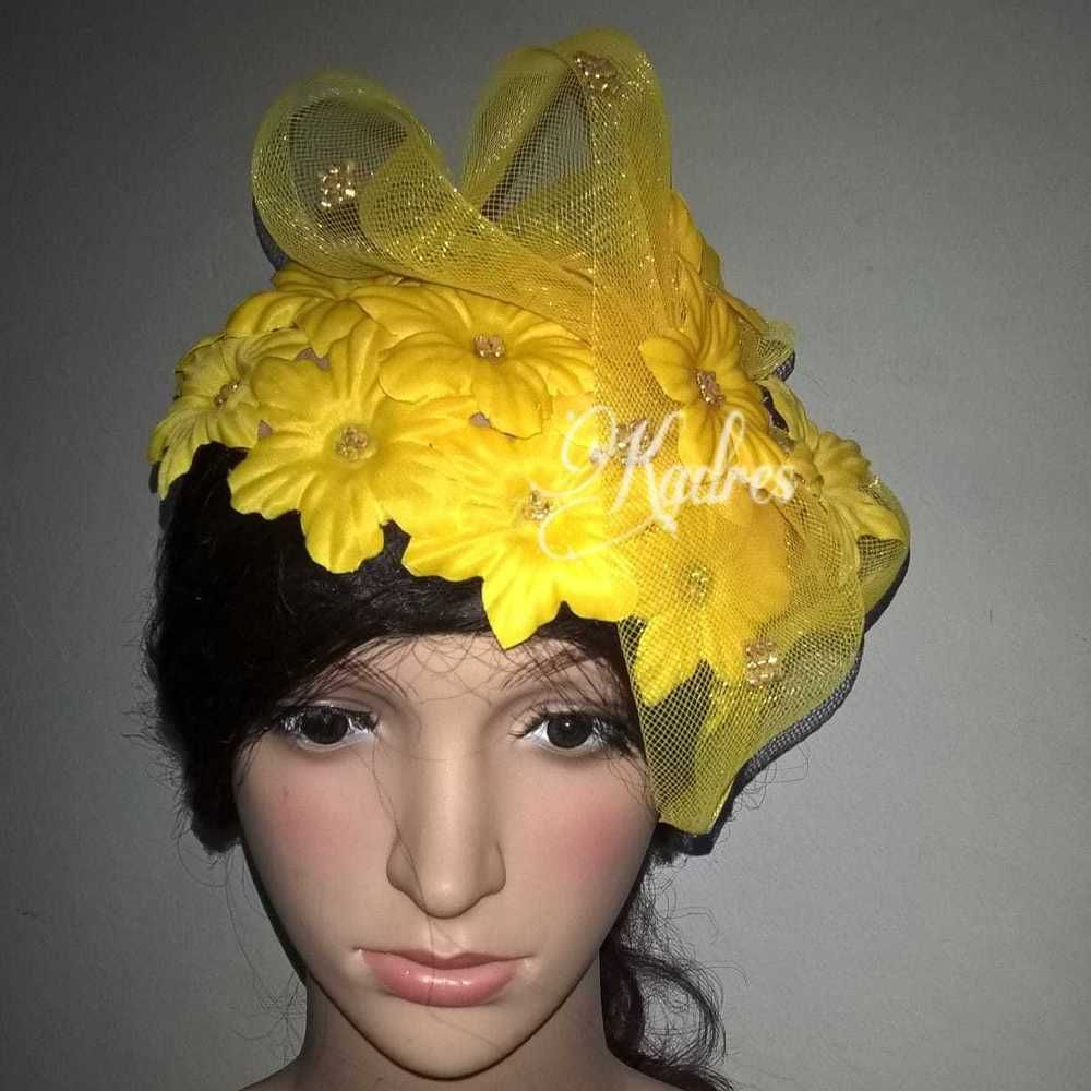 6daeac8d14530 Yellow petal half hat KADRES HATS made in Jamaica COGIC Fashion church  fashion  fashion  clothing  shoes  accessories  weddingformaloccasion ...