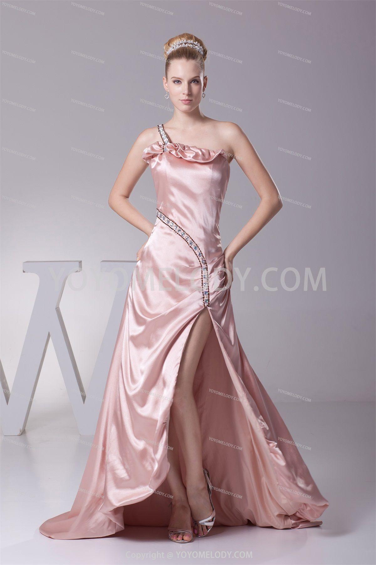 Glamorousudramatic light pink silk like satin sweep brush train