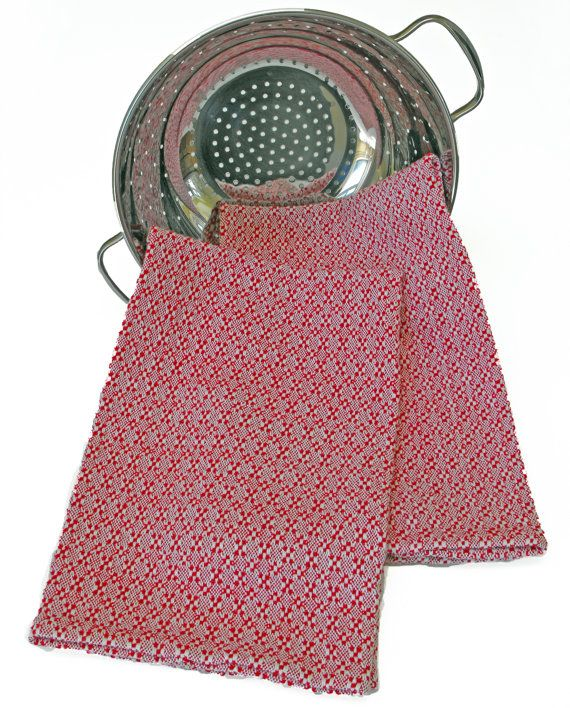 Handwoven Red And White Kitchen Tea Towel, Cotton Towels, Red White Dish  Towel,