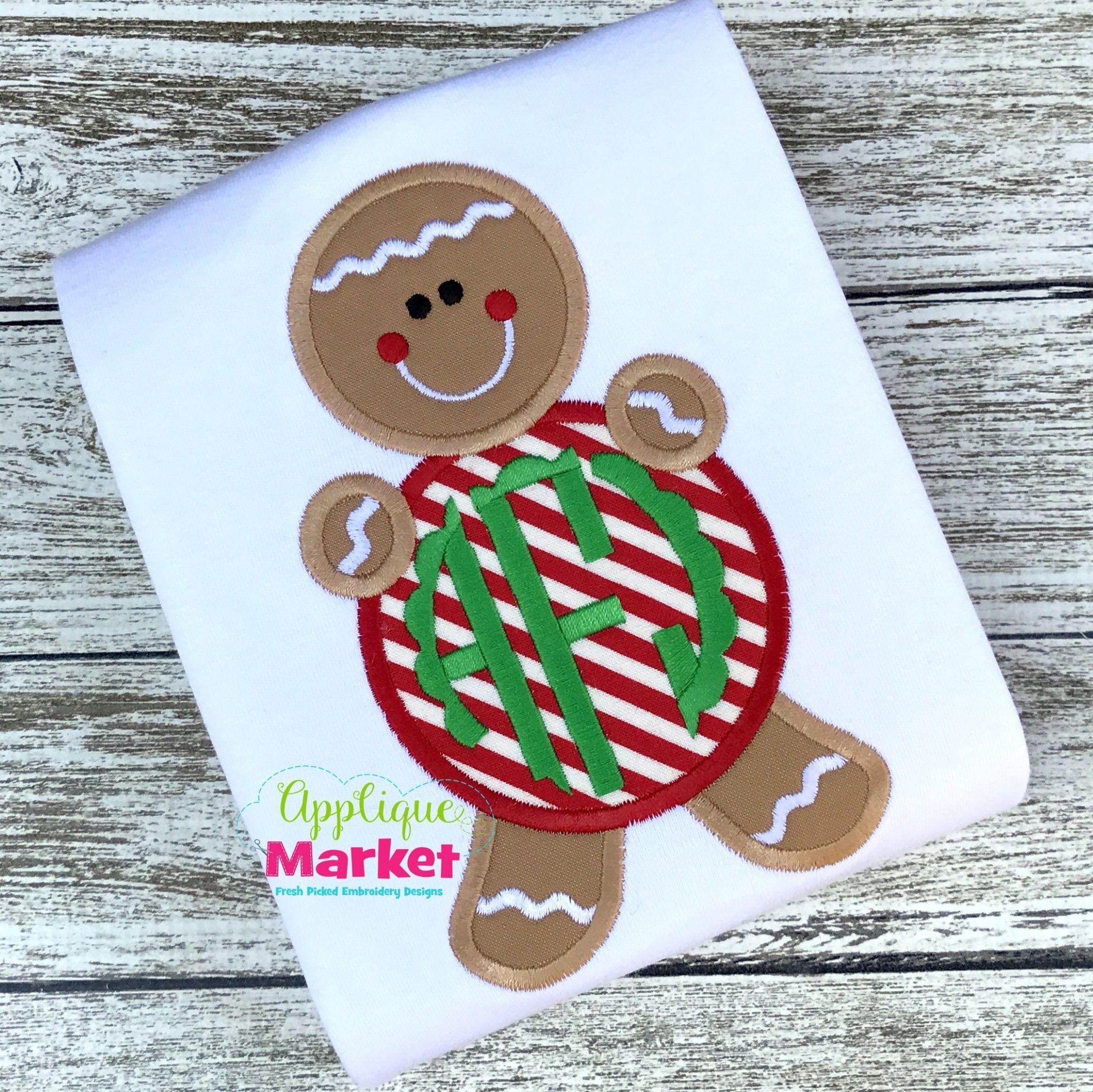 Gingerbread Boy Monogram Shirt Applique Christmas Shirt