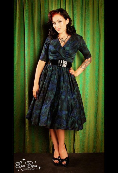 Pin Up Girl Clothing Com Birdie Dress With Three Quarter Sleeves In Peacock Print  Pinup