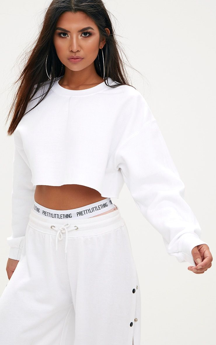 69f4c43a6b7 White Ultimate Cropped Sweater. Shop the range of Tops today at  PrettyLittleThing; Express delivery available. Order now.
