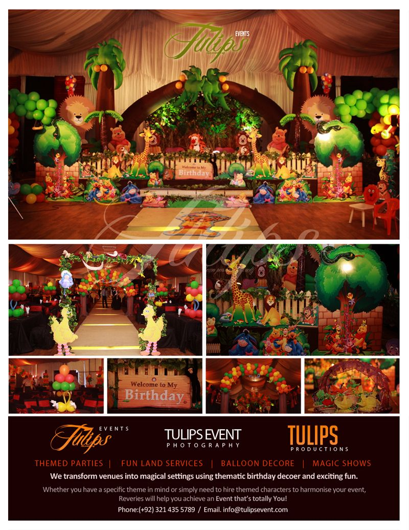 Jungle Theme Birthday Party Decoration Ideas Part - 40: Jungle-themed-birthday-party-decoration-pakistan