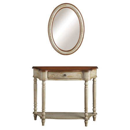 Found it at Wayfair - Console Table and Mirror Set in Linen Grey