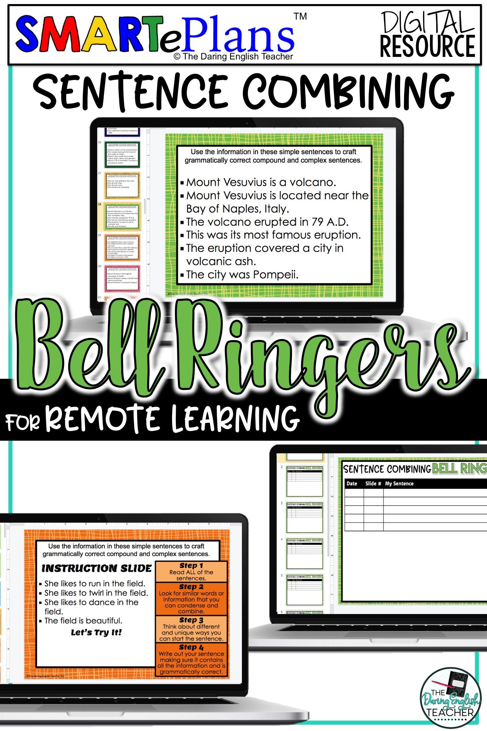 Digital Sentence Combining Writing Bell Ringer Activity In