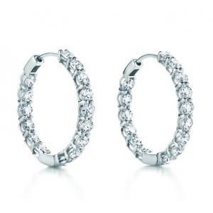 4 00 Ct Ttw Las Round Cut Diamond Inside Outside Hoop Earrings