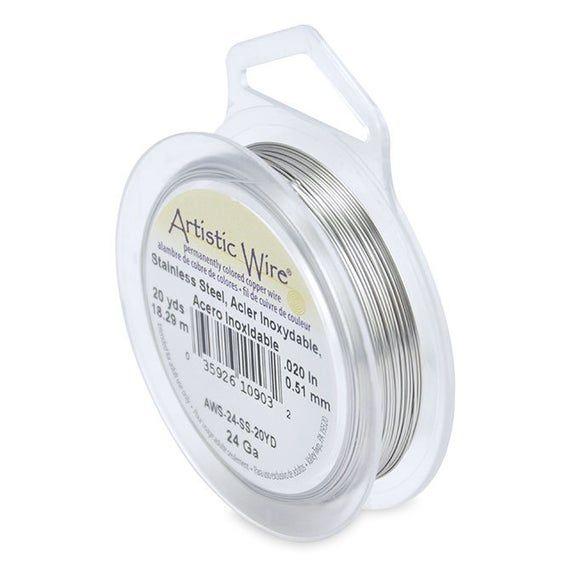 Artistic Wire 24 gauge Stainless Steel 41892 Round Wire, Jewelry Wire, Craft Wire, Stainless Steel W