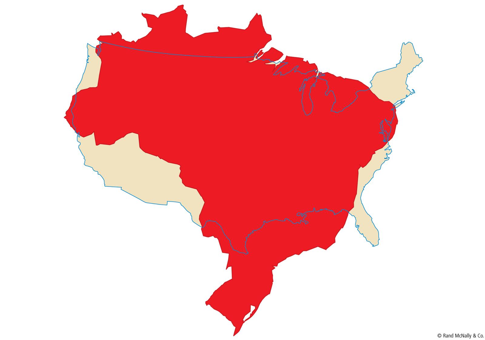 Brazil Size Comparison To United States Passport Club Pinterest - Usa vs canada map