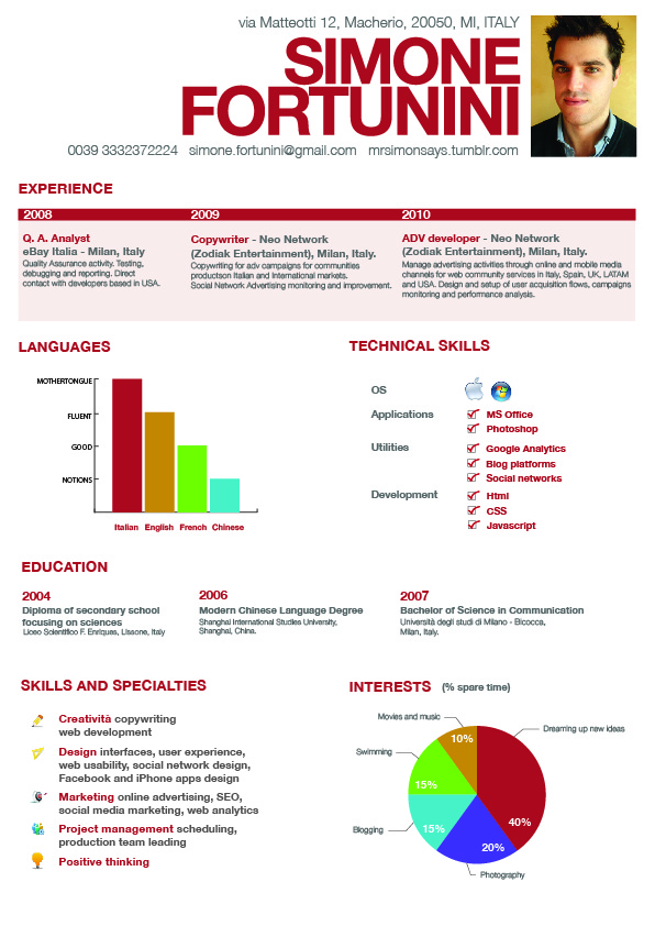 Visual resume reflecting the prospective employee's capabilities and  skills; visually appealing and design reinforces information contained  therein.