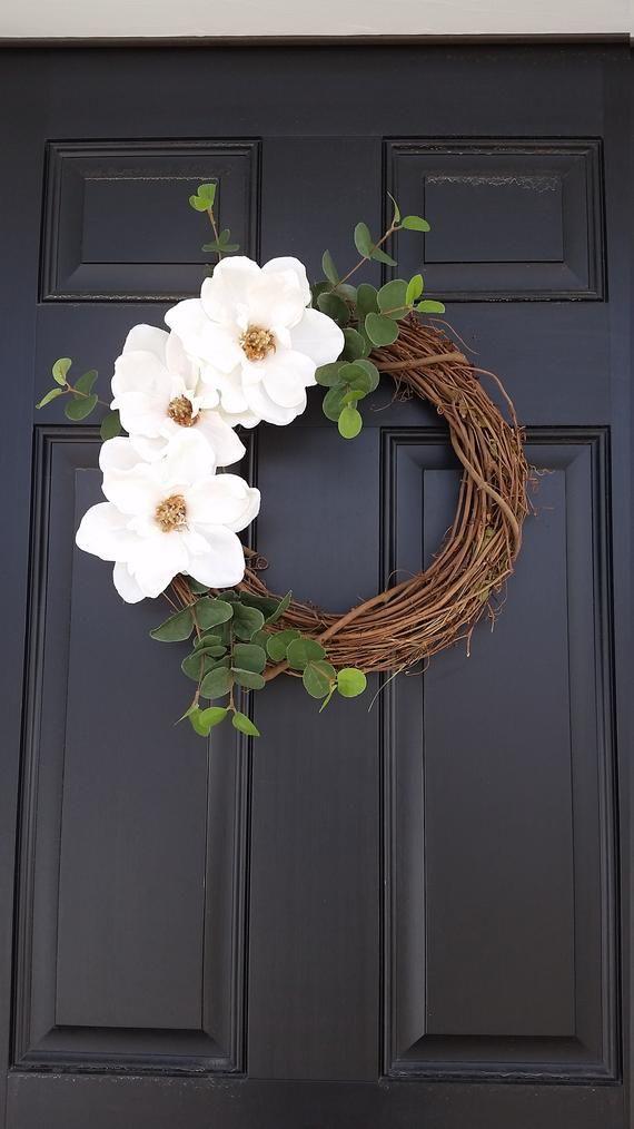 Magnolia Flower Wreath Spring Wreath Farmhouse Style | Etsy