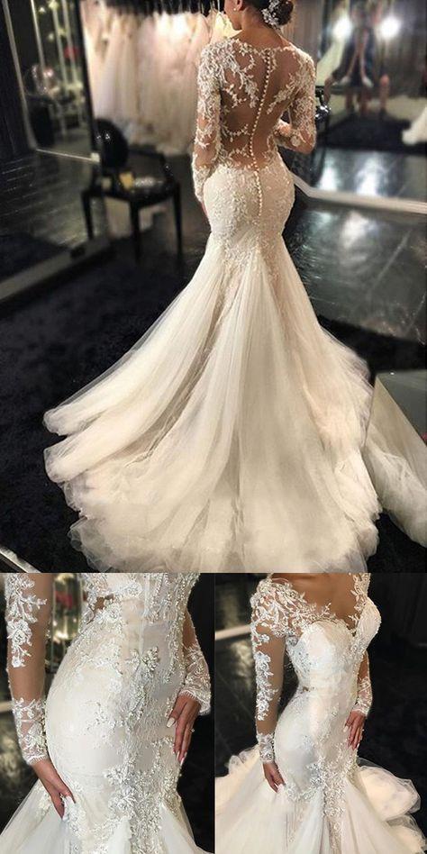 Langarm-Spitze-Meerjungfrau-Brautkleider, sehen durch lange kundenspezifische Hochzeitskleider M6163