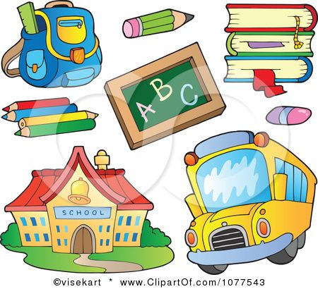 Clipart School House Bus And Supplies Royalty Free Vector Illustration By Visekart 1077543 Art School Supplies Preschool Designs School Supplies