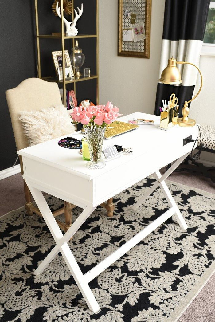A review of the Nourison Graphic Illusions Black Damask Area Rug from Rug Studio. The rug looks gorgeous in this black, white and gold glam home office.   via monicawantsit.com