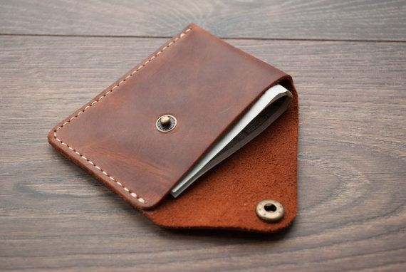 Black Minimal Slim Light Leather Wallet with Money Clip Travel Minimalist