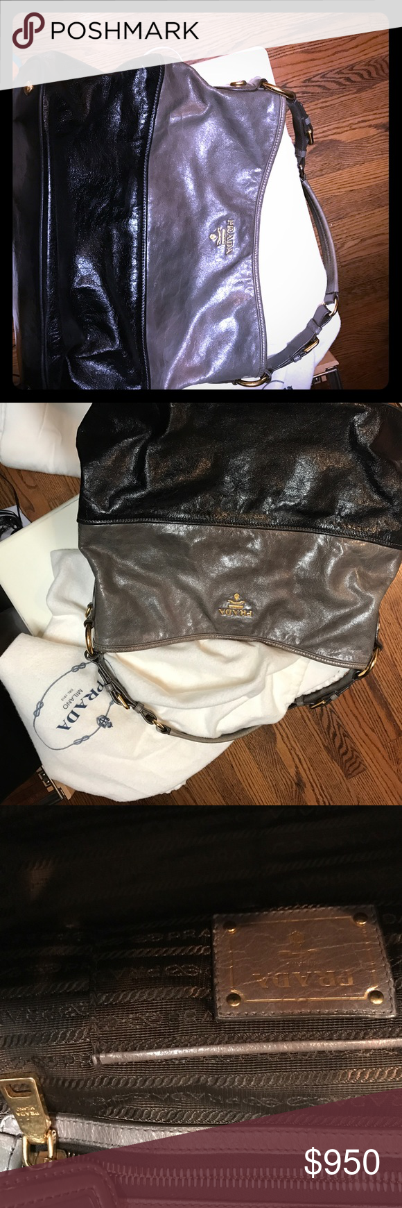 Authentic Prada  large shoulder bag Authentic Prada large shoulder bag. 2 color European edition. Black and grey soft leather. Gold hardware. Comes with  Dust bag and authenticity card. Excellent condition. Prada Bags Shoulder Bags