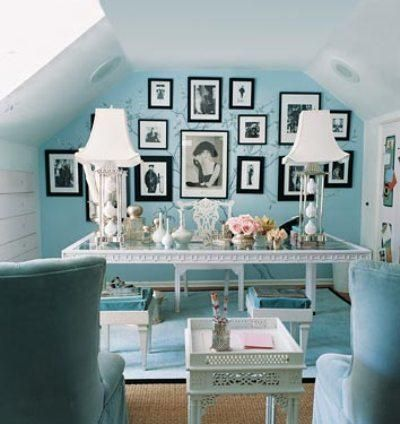 Tiffany blue walls for a home office ~ yes!