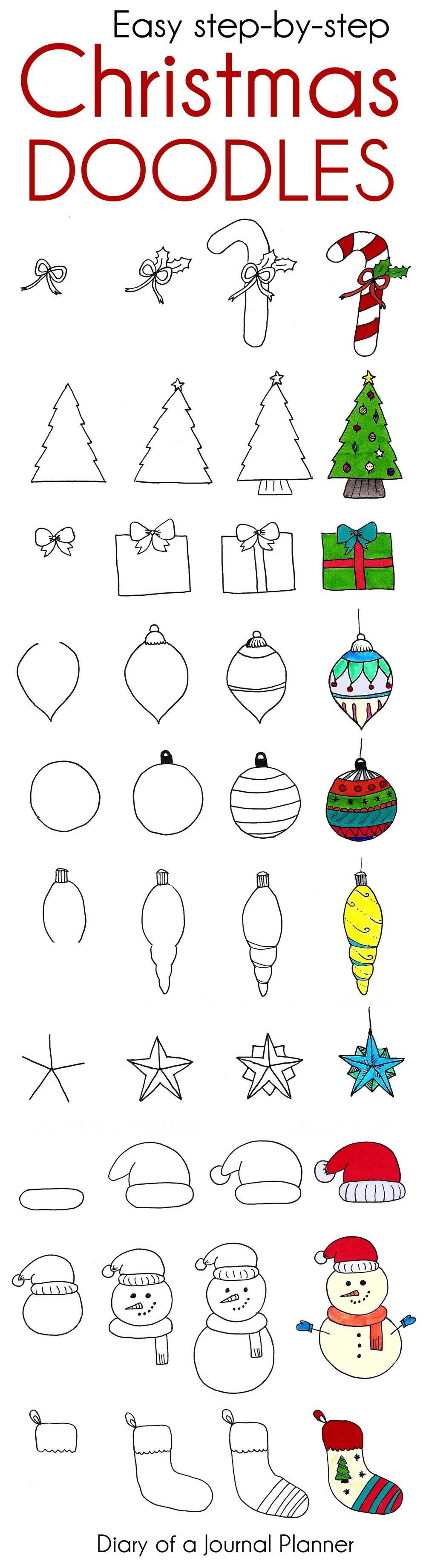 Cute Christmas doodles for your bullet journal or Christmas cards