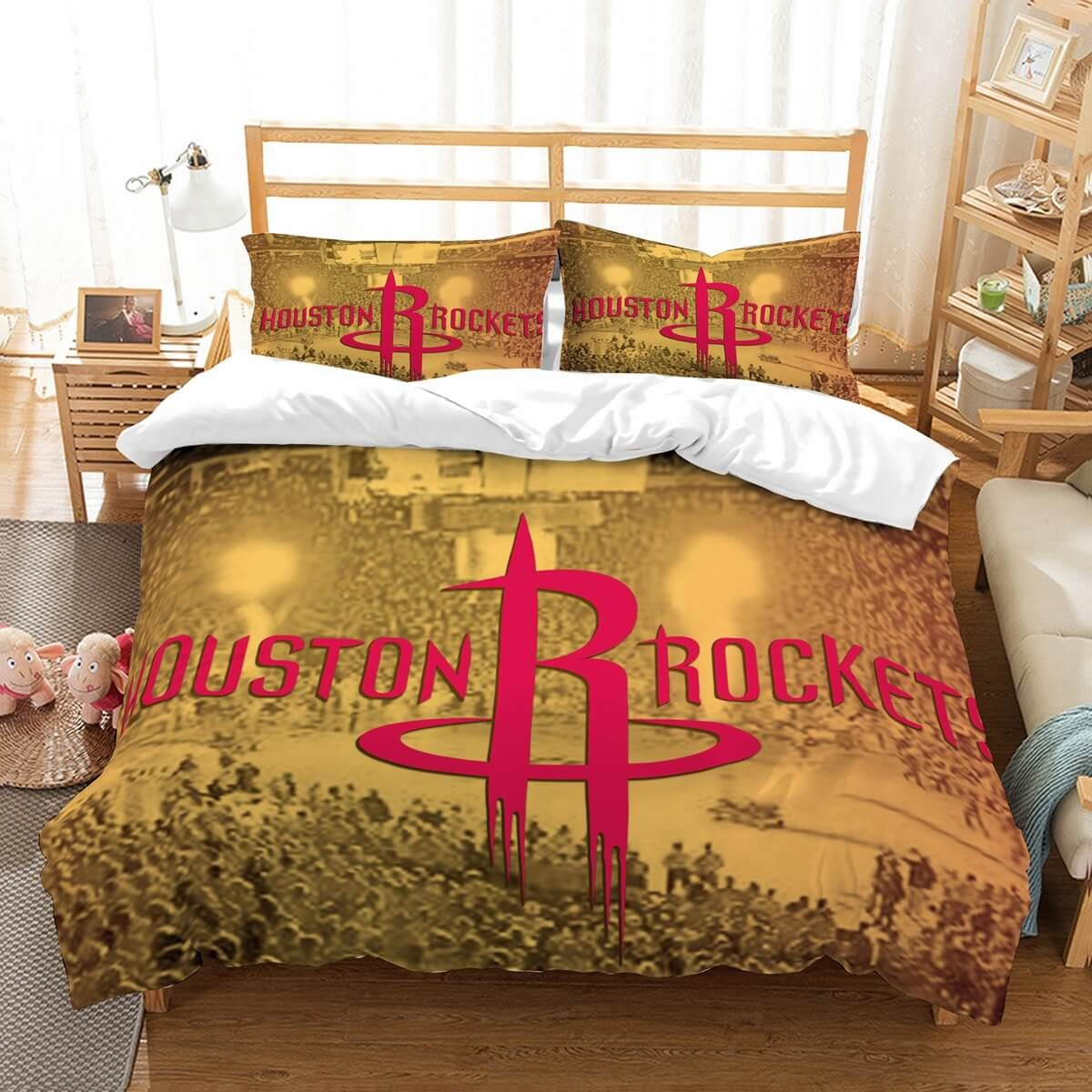 Customize Houston Rockets Bedding Set Duvet Cover Bedroom Bedlinen