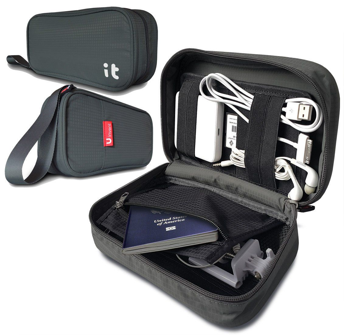 Travel Cord Organizer Electronics Accessories Case Cable Hand Dark Gray