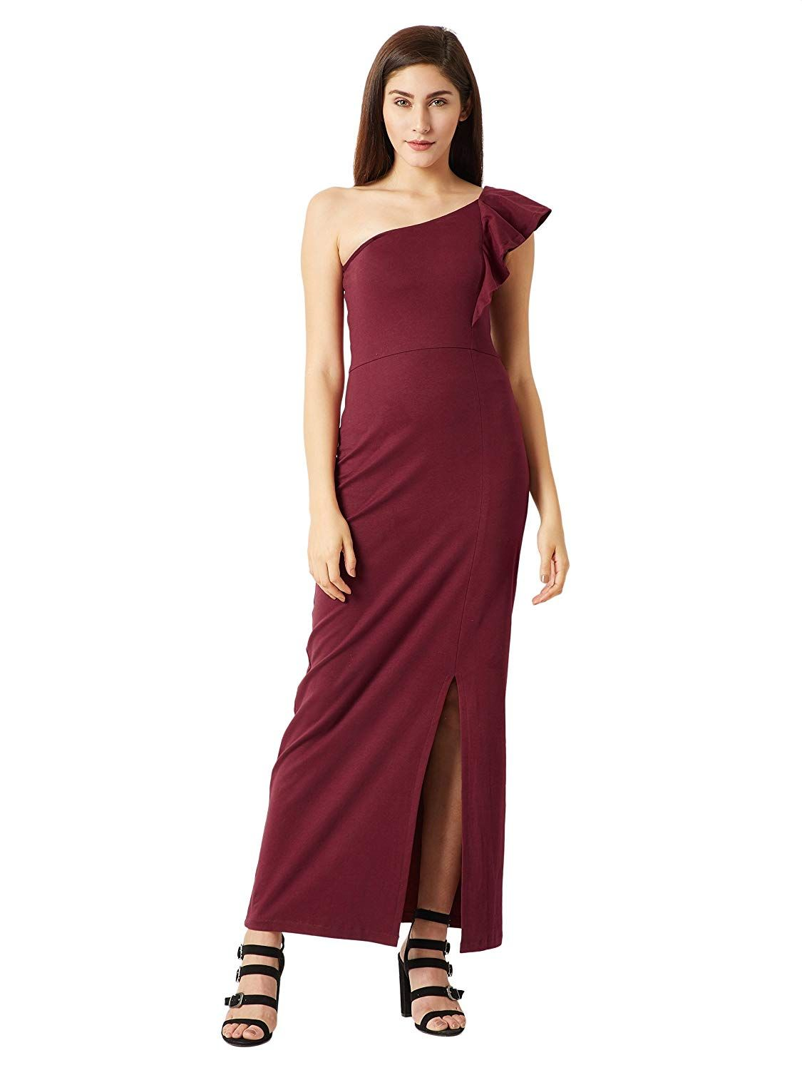 a40f472be5b6 Miss Chase Women s Wine Red One Shoulder Slit Maxi Dress  Amazon.in   Clothing   Accessories