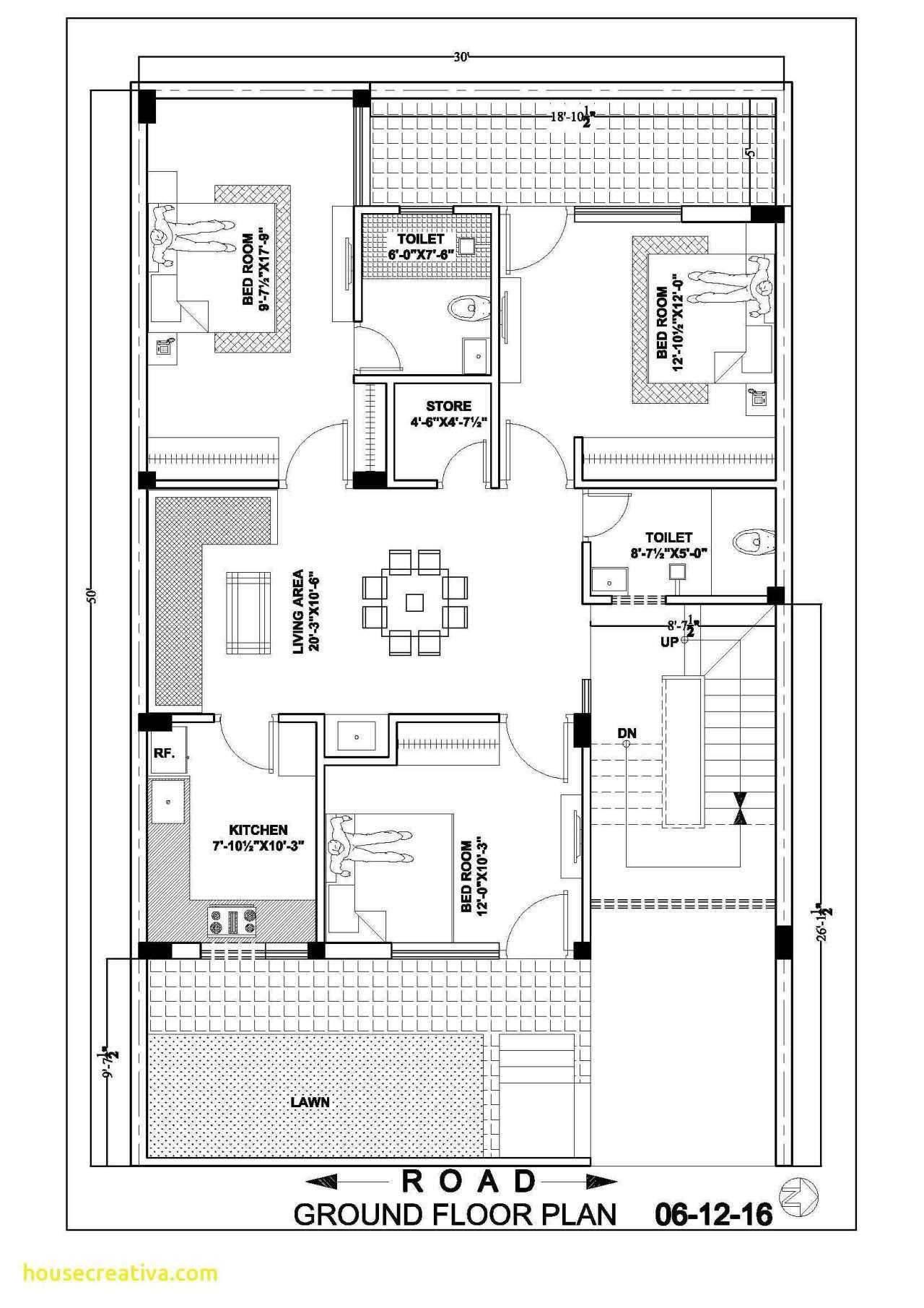3 Bhk Duplex House Plan Elegant 30 50 Ground Floor Plan ...