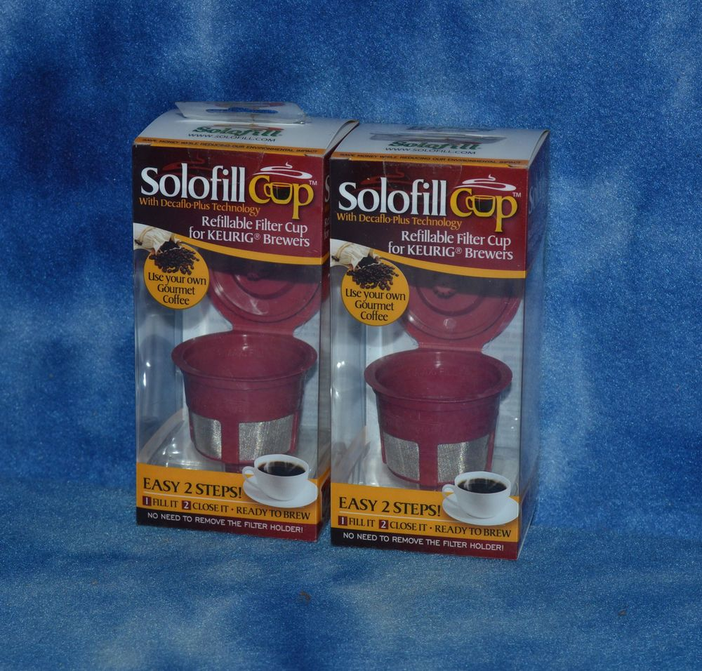 2 x solofill cup 1072001red refillable filter for keurig