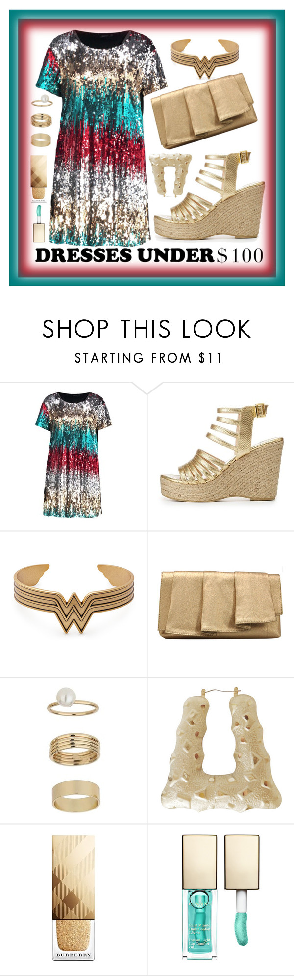 """Glitter & Gold (Plus Size)"" by jazzola-19 ❤ liked on Polyvore featuring Boohoo, Qupid, La Regale, Miss Selfridge, Burberry and Clarins"