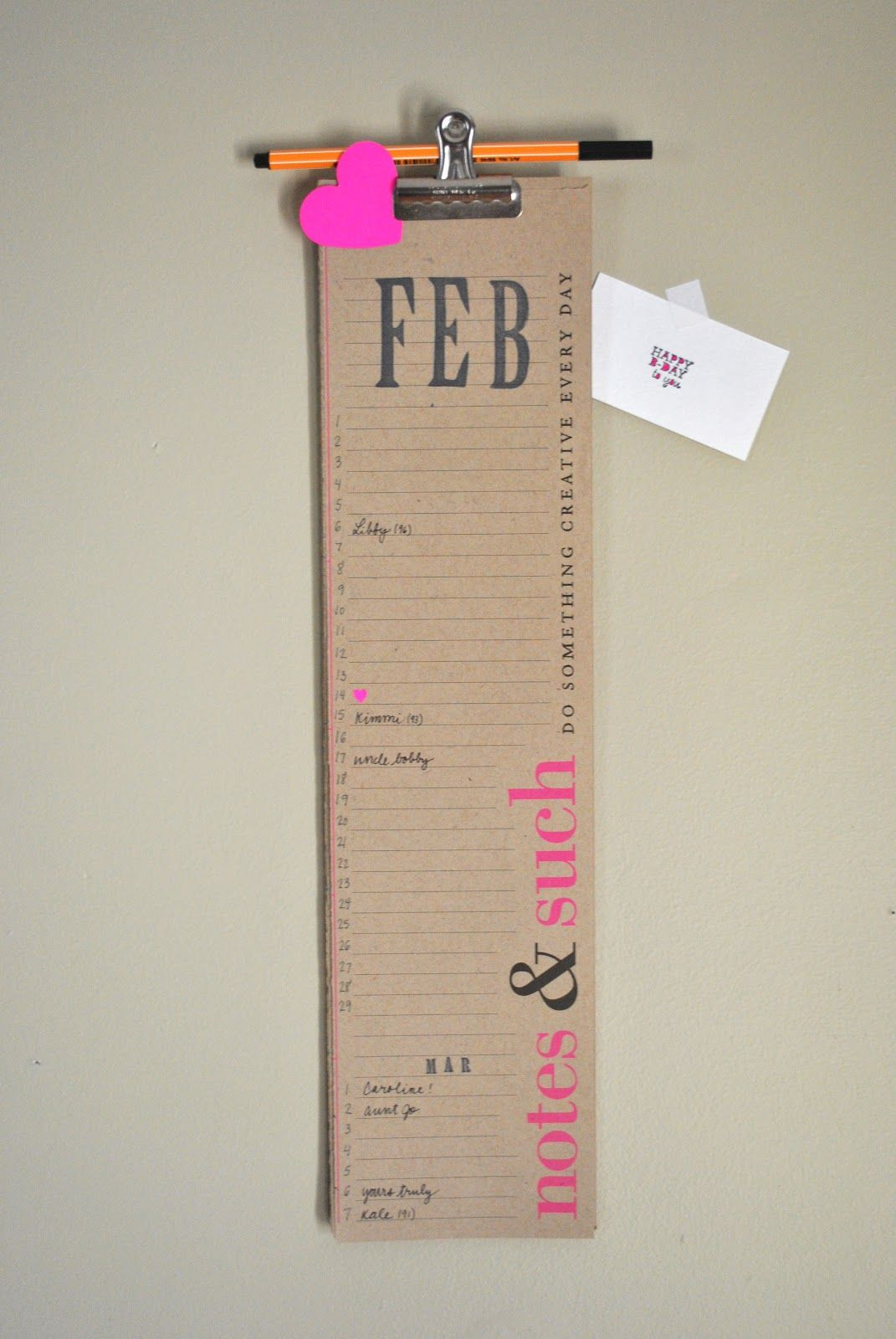 Diy Perpetual Birthday Calendar  Want To Make Something Similar