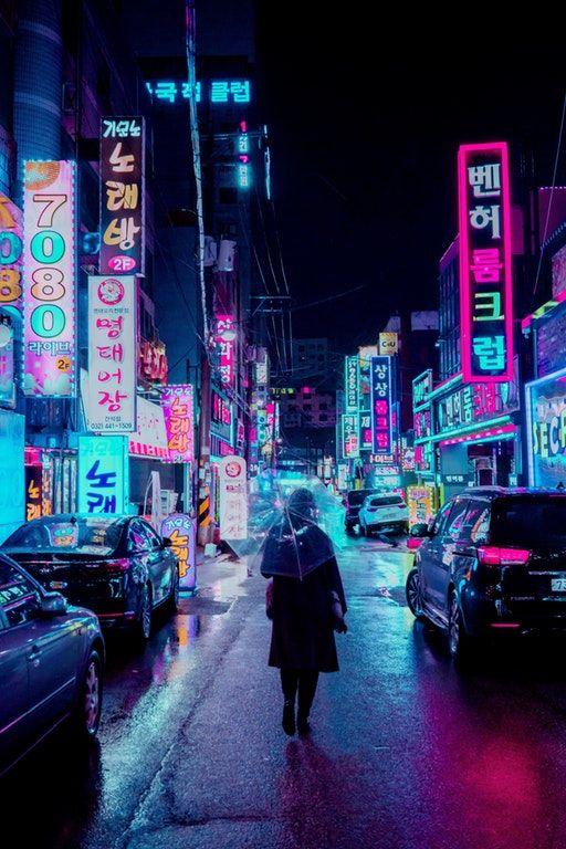 Rain, Neons, & Seoul Cyberpunk Cidade cyberpunk