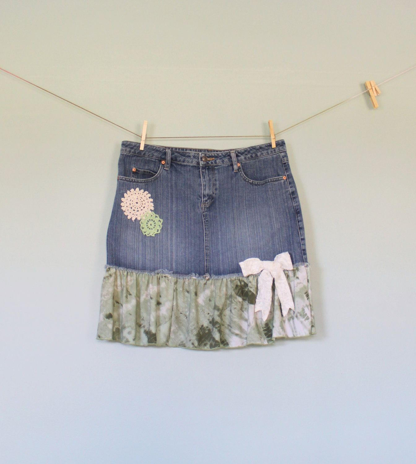 Hippie, Bohemian, Boho, Country Girl, Country Chic, Camo, Tattered Upcycled Women's Denim Blue Jean Skirt  Jeans