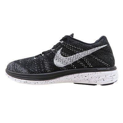 6c6eba0f61dc8a Nike Flyknit Lunar 3 Mens 698181-010 Black Fog Athletic Running Shoes Size  8.5