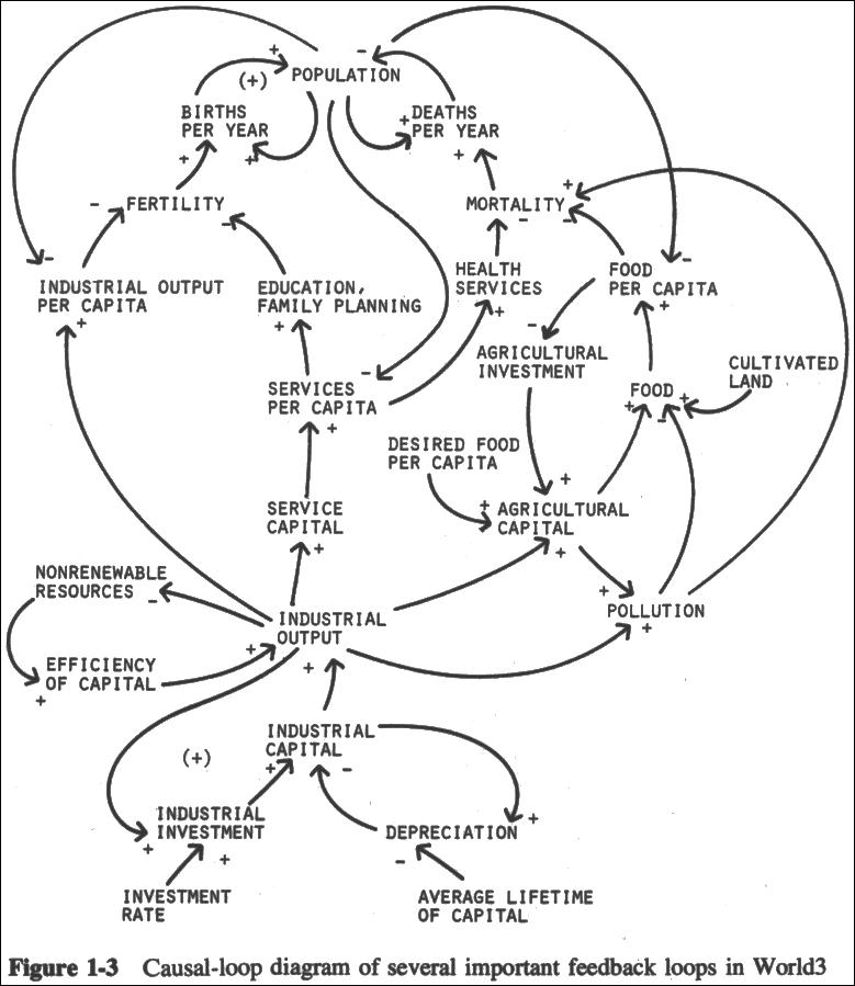Causal-loop diagram of several important feedback loops in