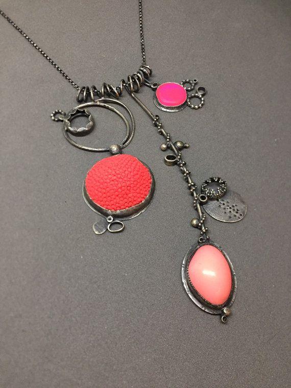 neon coral pink necklace sculpture sculptural by jaimejofisher
