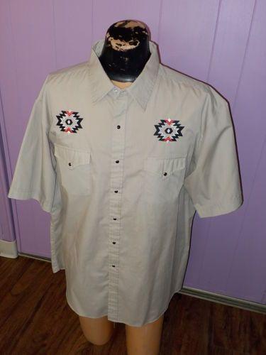 HIGH-NOON-Aztec-Tan-DRESS-Western-Cowboy-PEARL-SNAPS-Shirt-MENS-Size-XXL-2XL