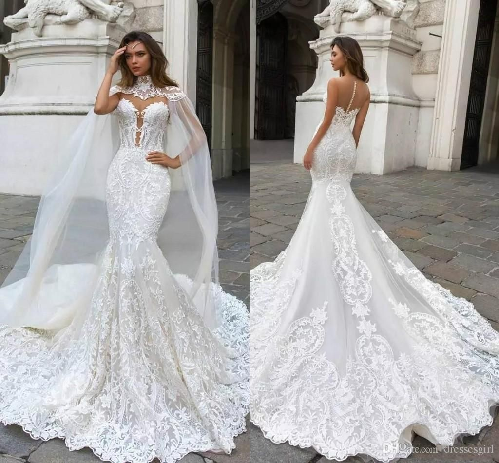 Milla Nova 2017 Cap Sleeve Mermaid Wedding Dresses Sheer Neck Lace