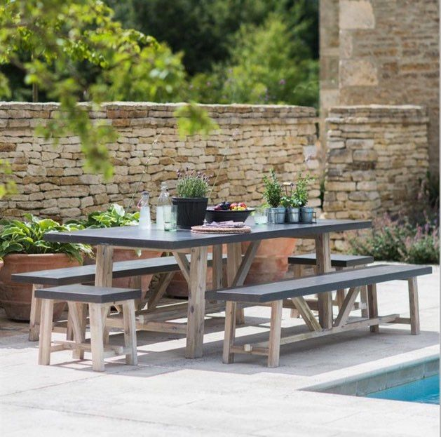 Chilson Table and Bench Set Bench set, Concrete furniture and Concrete