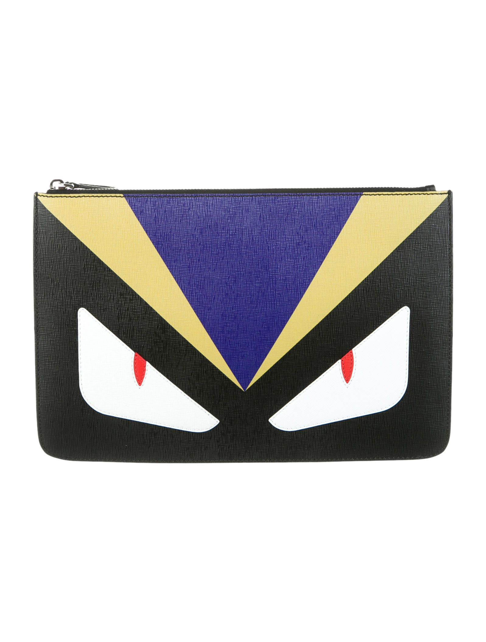 58bd894ce6 Black and multicolor saffiano leather Fendi Monster Eyes clutch with silver-tone  hardware