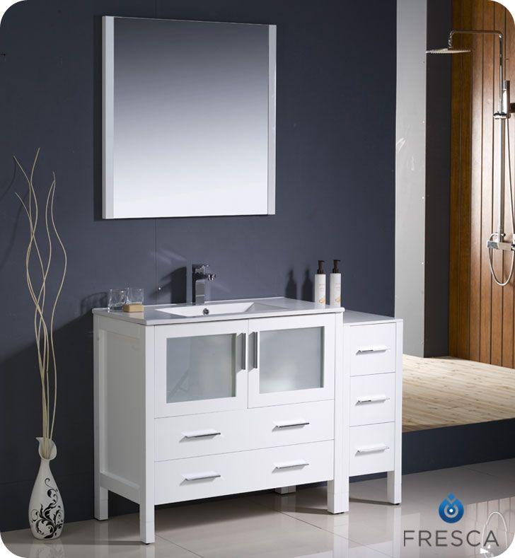 "Fresca 48"" White Modern Bathroom Vanity with Side Cabinet ..."
