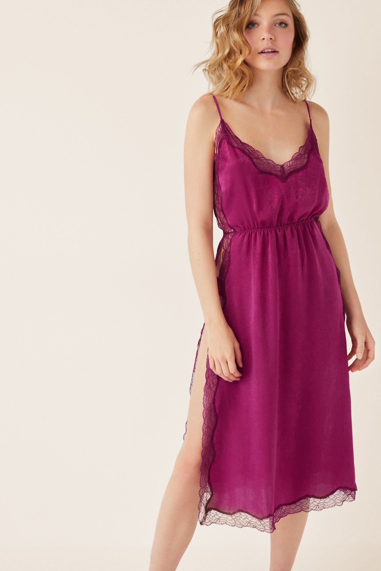 822be0e49 Midi satin nightgown and floral lace details. Side openings