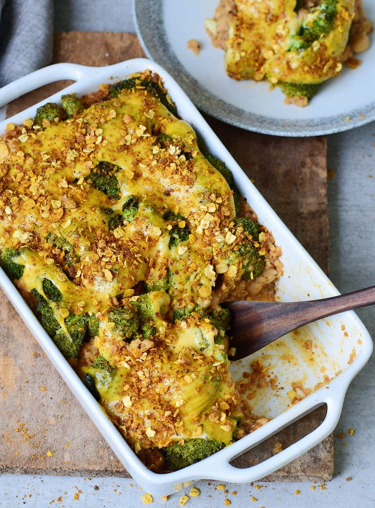 Healthy broccoli quinoa casserole (savory soufflé) which is vegan, gluten-free, grain-free and eas