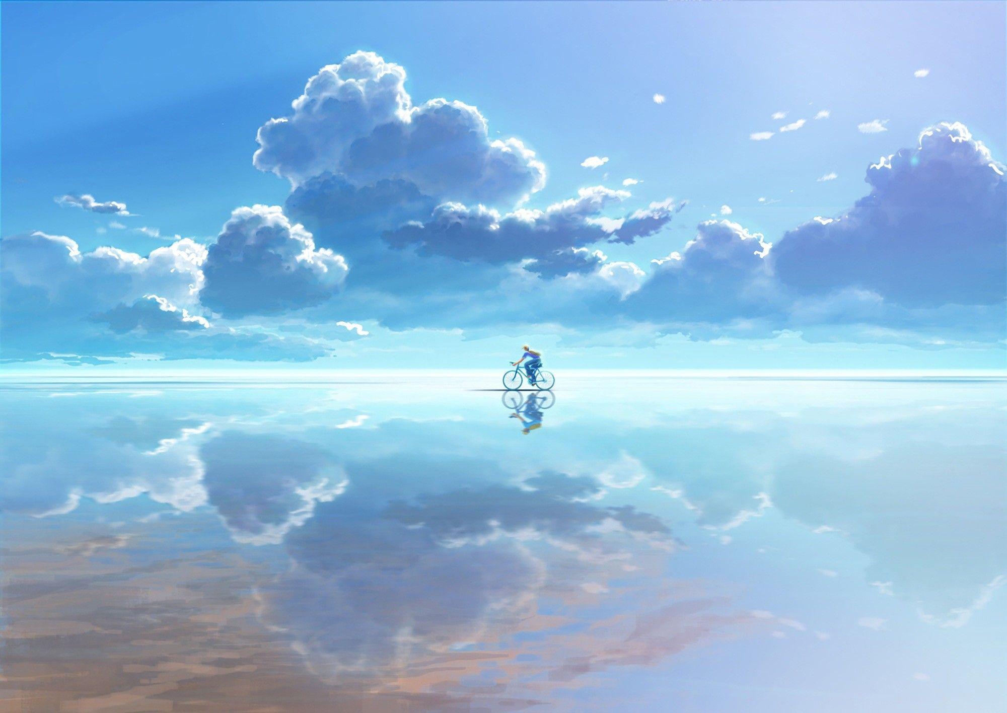 bicycle clouds reflection Phong cảnh, Ảnh ấn tượng, Hình ảnh