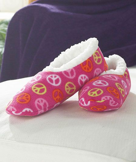 Women's Peace Sign Slippers with Grippers | The Lakeside Collection