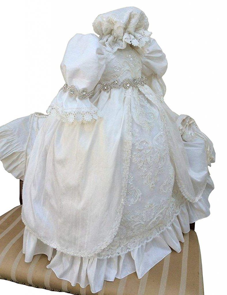 Aorme baby girls christening gown dress baptism gowns with beading