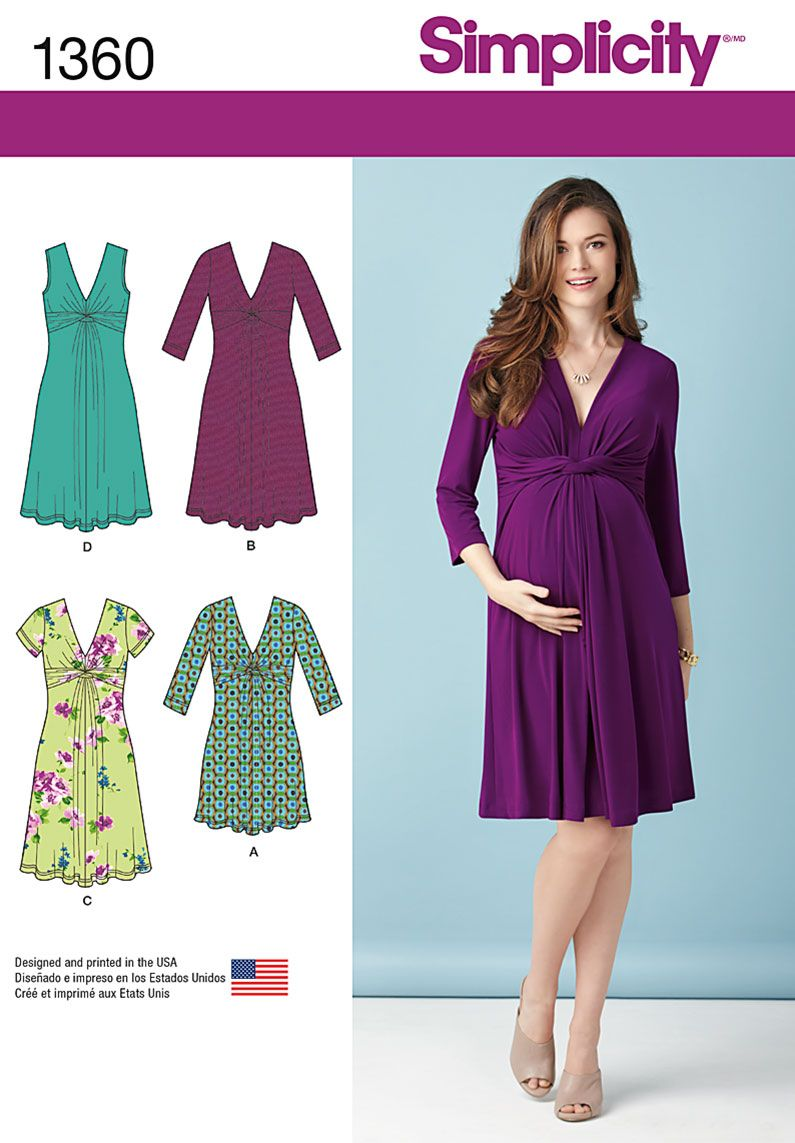 diy maternity dress has flattering twist and gathered detailing at